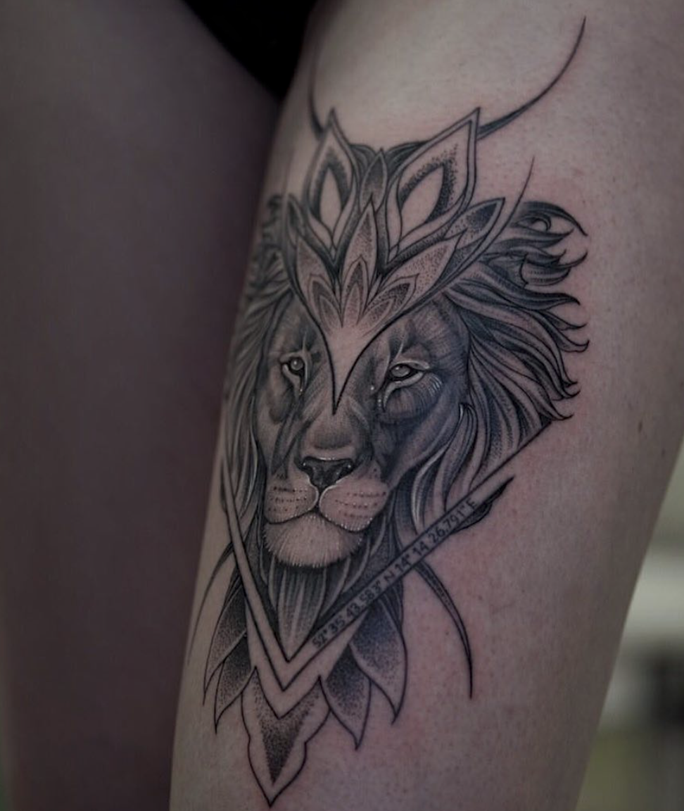 Whip Shading Lion Tattoo Tatuaż Tatuaż