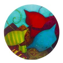 Toile ronde Ketto- Chats / Ketto's round canvas -Cats * www.kettodesign.com