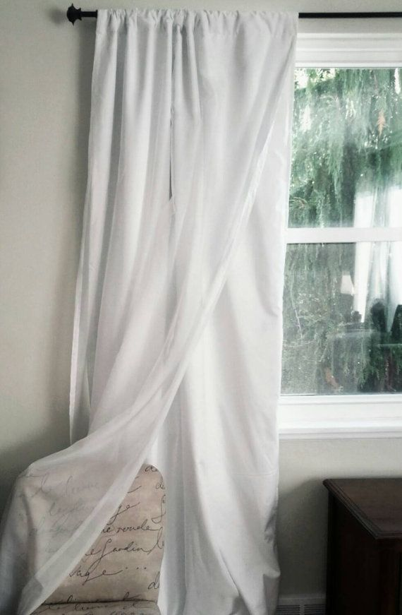 White Blackout Curtain With Voile Overlay One Panel Custom Etsy White Blackout Curtains White Wall Decor Blackout Curtains