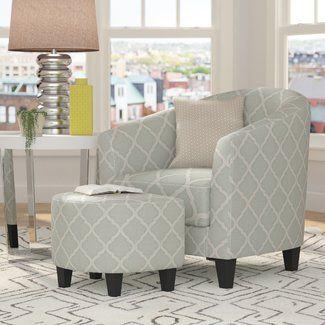 Brayden Studio® 2 Piece Upholstered Barrel Chair And Ottoman Set Adorable Living Room Ottoman Design Inspiration