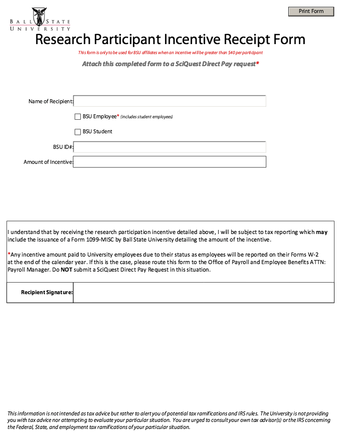 printable participant incentive receipt form httpresumesdesigncom printable participant incentive receipt form