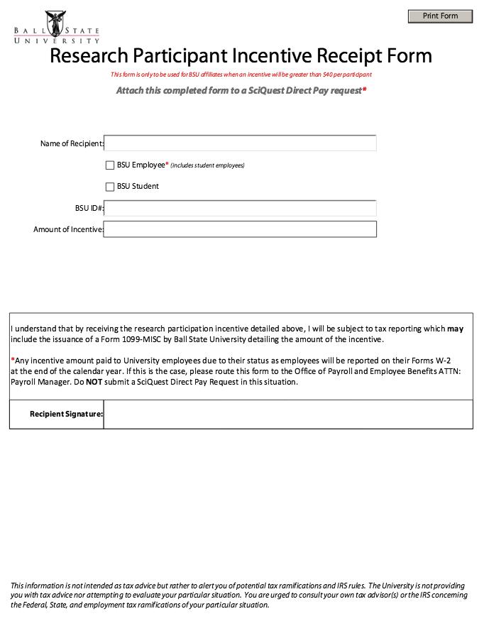 Printable Participant Incentive Receipt Form http – Payroll Receipt