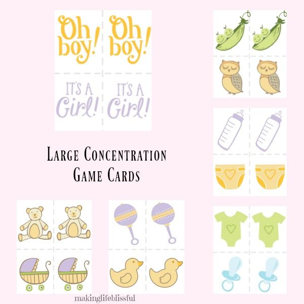 large group concentration games for baby showers and bridal showers printable shower games including memory scattergories and advice cards