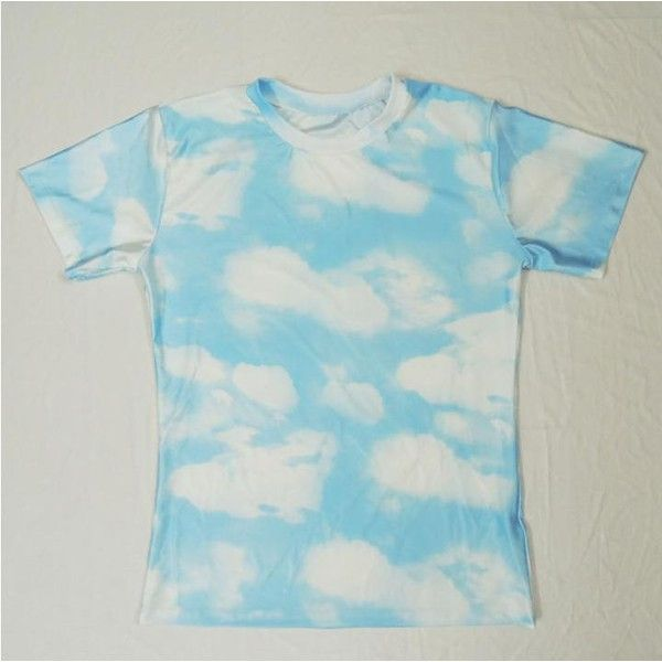 Cool White Cloud Top T Shirt from Crown Cat ($20) ❤ liked on Polyvore featuring tops, t-shirts, short tops, unisex t shirts, white short top, sleeve t shirt and short sleeve tops