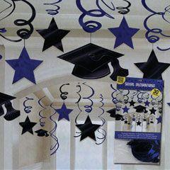 Blue graduation swirl decorations 30 pack graduaci n for Decoracion de licenciatura