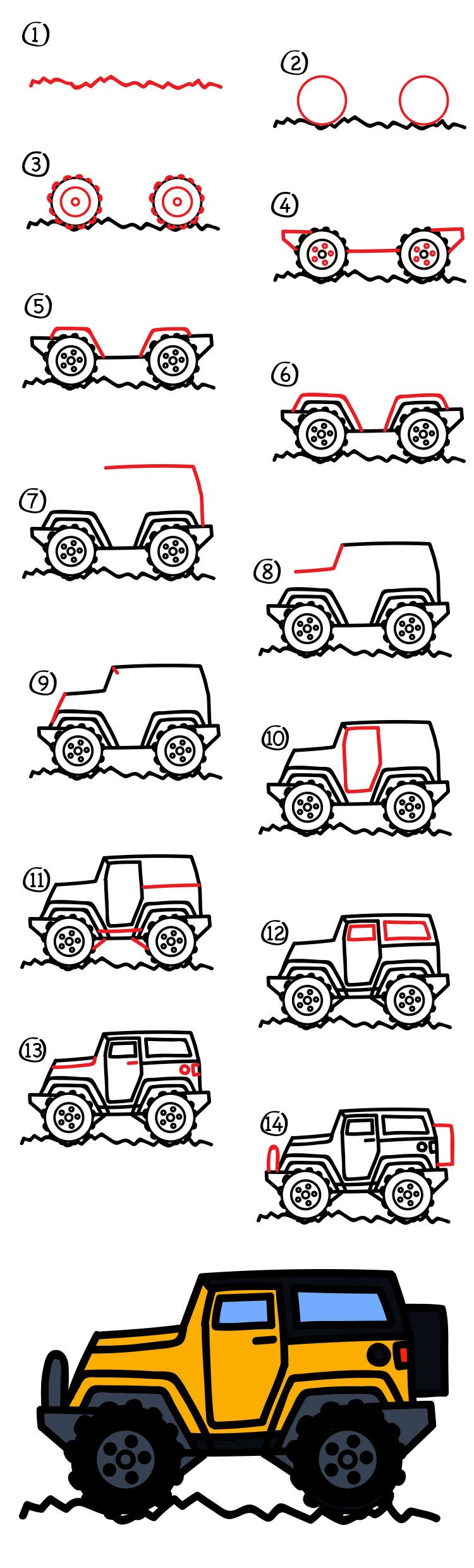 Easy Jeep Drawing : drawing, Drawing, Kids,