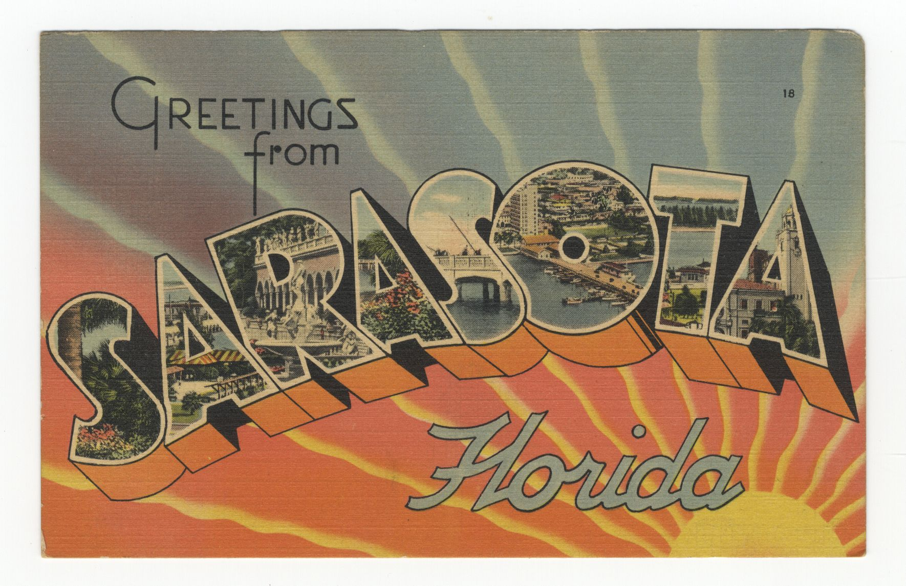 Greetings from sarasota florida vintage postcard vintage linen postcard greetings from sarasota florida the air conditioned city ca 1950 kristyandbryce Image collections