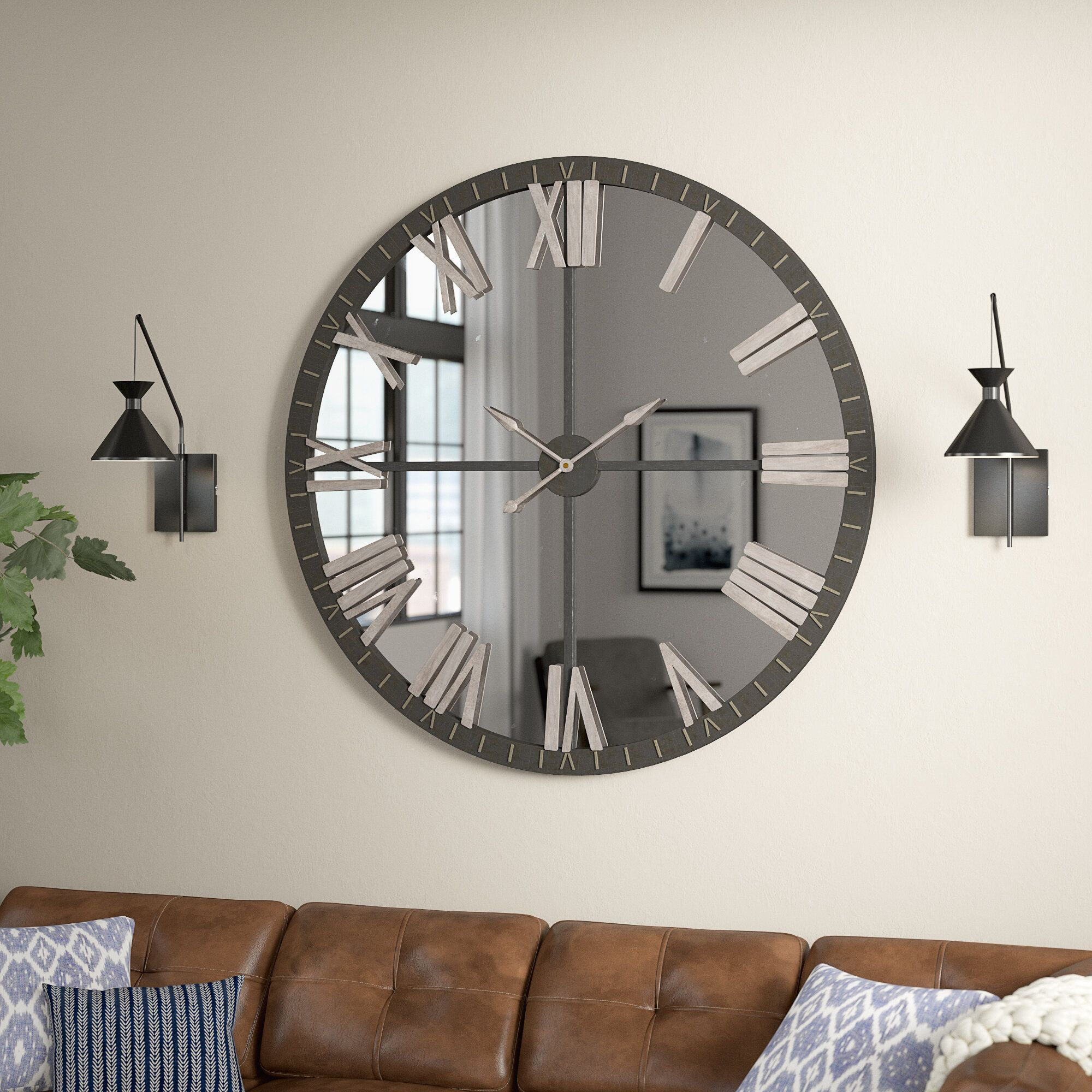 Oversized Wall Clock With Floating Shelves Wall Clocks Living Room Wall Decor Living Room Living Room Wall