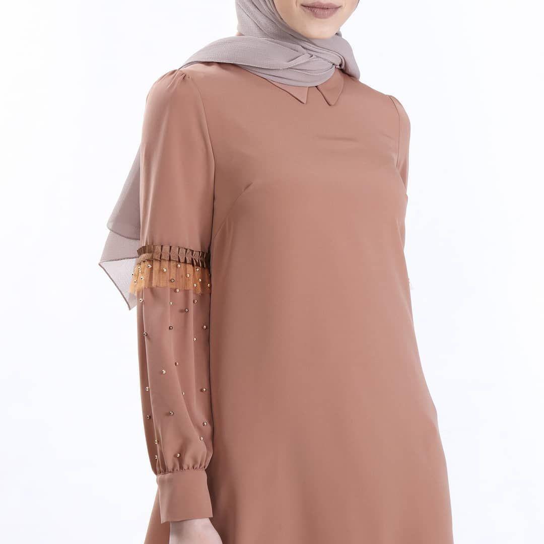 Sitare Kollari Tullu Incili Gomlek Fashion High Neck Dress Dresses