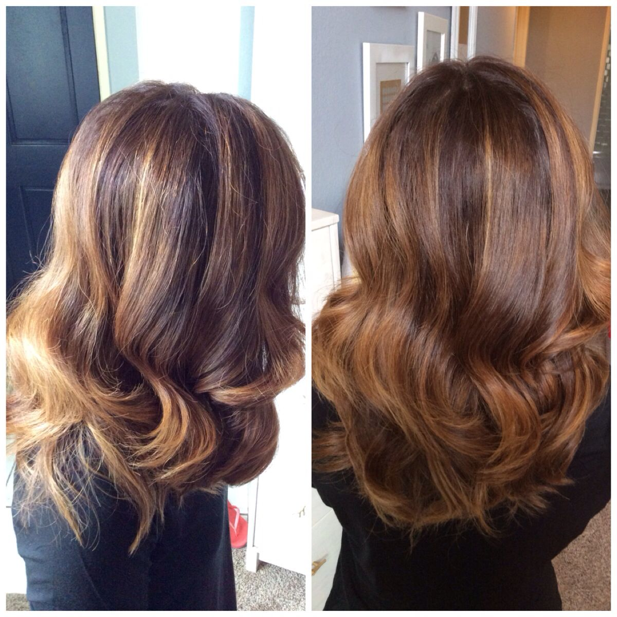Chocolate brown with caramel highlights. Balayage, curls, medium length hair.  Melissa McGinnis