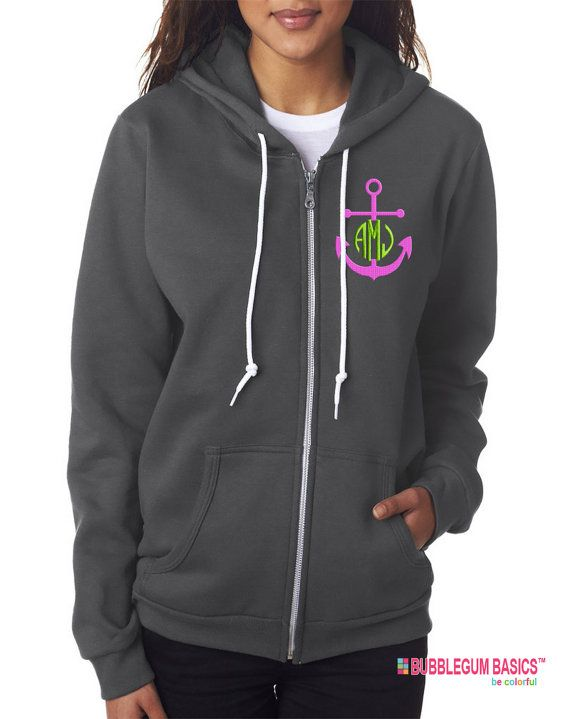 Personalized Embroidered Nautical Anchor Monogram Full Zip Hooded Cotton  Fleece Jacket Custom Initials - Lots of Colors