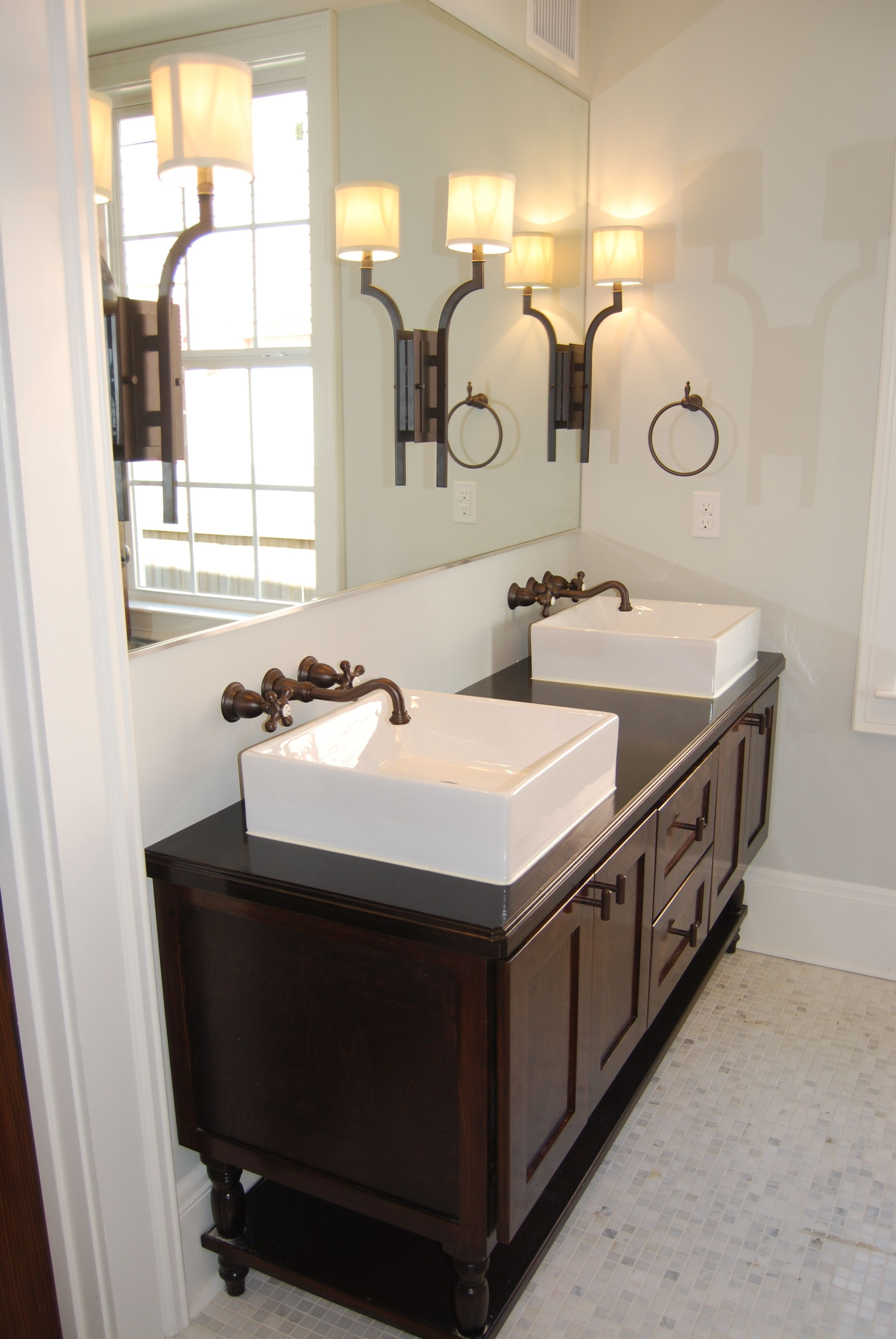 Master bath custom designed and built double vanity for Master bathroom fixtures