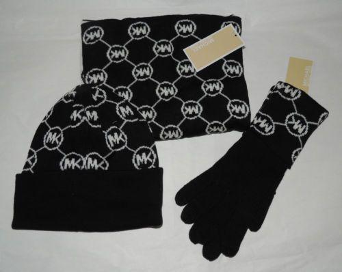 f54af4c2e73fc NWT Michael Kors Black White MK Signature Monogram Scarf Beanie Hat Gloves  Set  MichaelKors  ScarfHatGloves