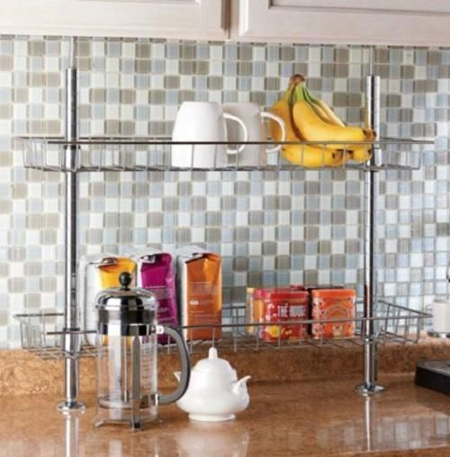 Steel 2 TIER TENSION POLE KITCHEN COUNTERTOP STORAGE SHELF ...
