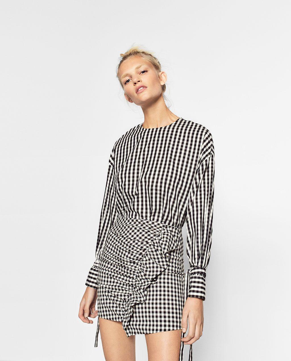Falda Mini Cuadro Vichy Ver Todo Faldas Mujer Zara Colombia