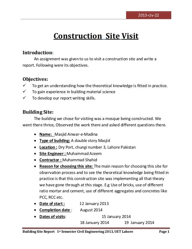 2013-civ-22 Building Site Report 1st Semester Civil Engineering - incident report templates