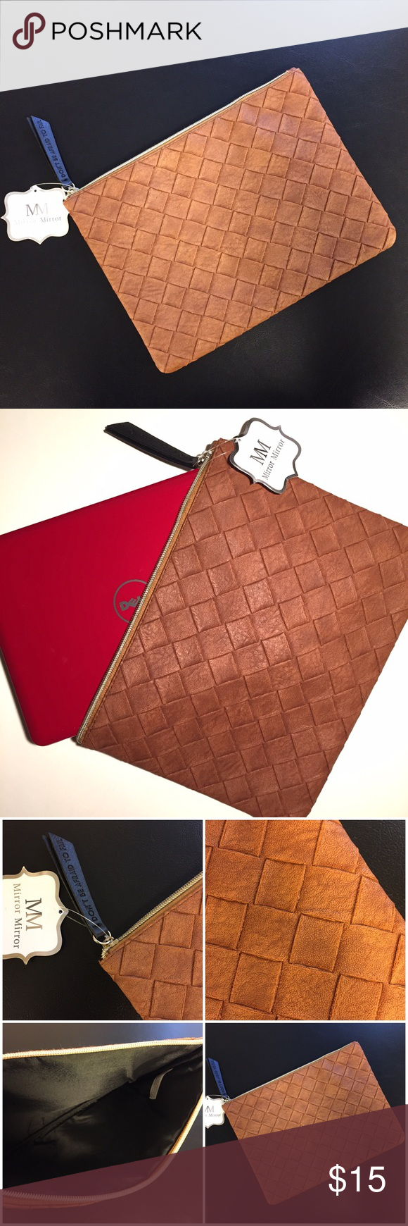 Tech Case Faux leather tech case, brand new. Color is cognac -- see last photo for most accurate depiction of color. 8 x 11 Mirror Mirror Accessories Tablet Cases
