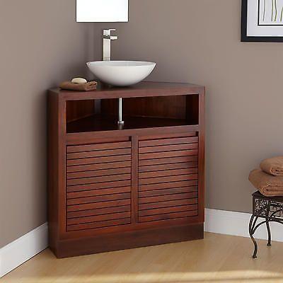 34 Cuyama Mahogany Corner Vanity No Drillings Corner Bathroom Vanity Corner Sink Bathroom Small Bathroom Vanities