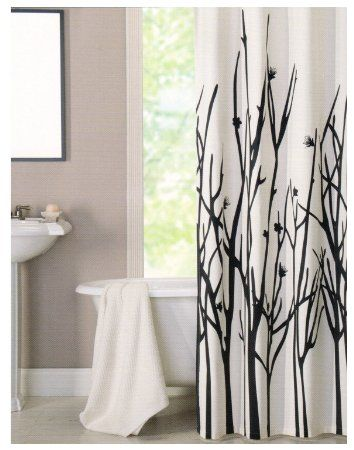 Amazon Com 100 Percent Cotton Shower Curtain Branches Off White