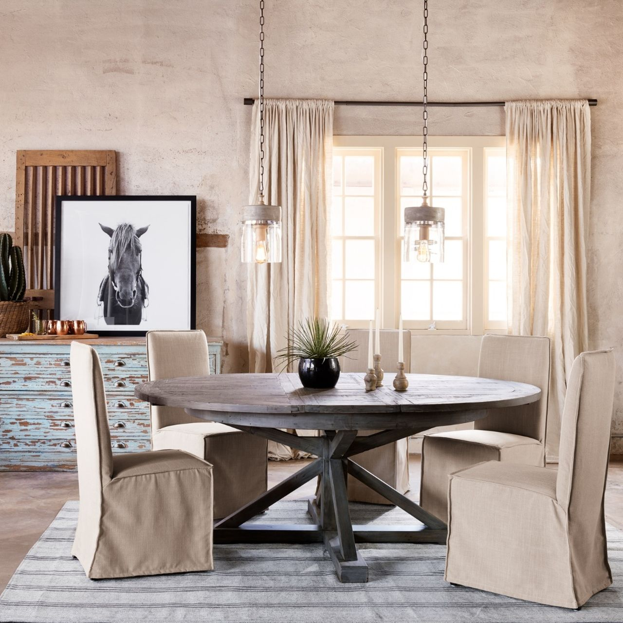 Cintra reclaimed wood extending round dining table 63 in