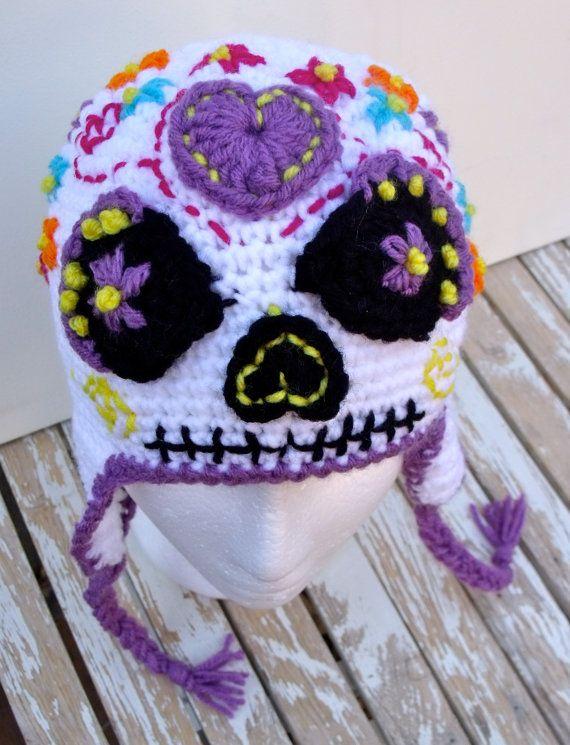 Sugar Skull Earflap Hat, Halloween, Day of the Dead, Dia de los ...