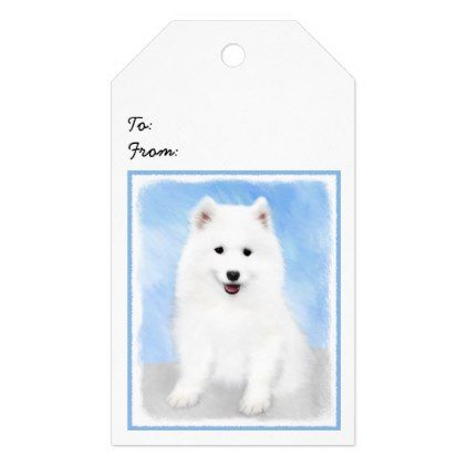 Samoyed Puppy Gift Tags - drawing sketch design graphic draw personalize