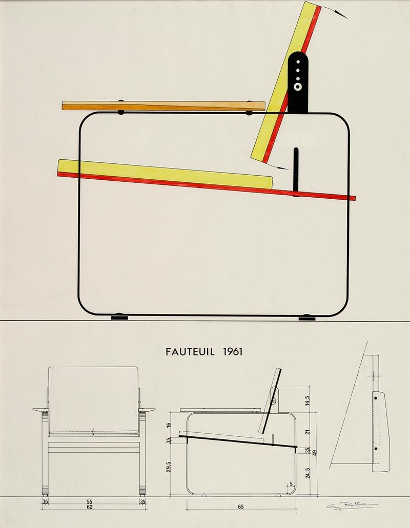 Sessel technische zeichnung  Guy Rottier _ Fauteuil, 1961 | Design | Pinterest | Möbel, Couch ...