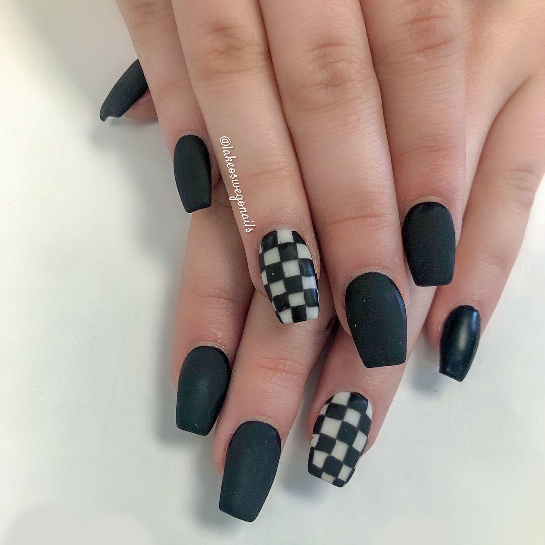 On Your Marks Checkered Nails Black Acrylic Nails Fashion Nails