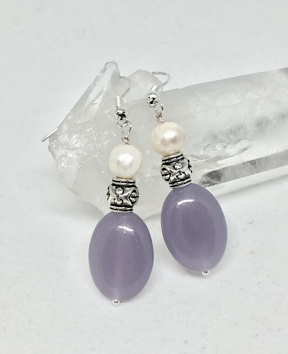Photo of Lilac lepidolite and white freshwater pearl silver earrings, pearl jewelry, light purple stone, lavender stone, healing stone, June