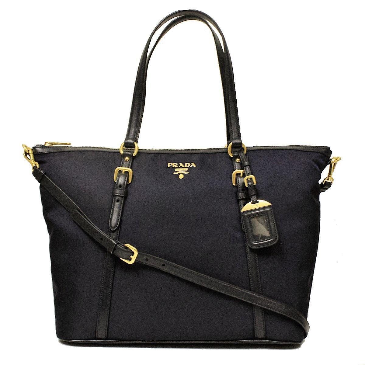 afae99e242 Prada Tessuto Soft Calf Leather Shopping Tote Bag