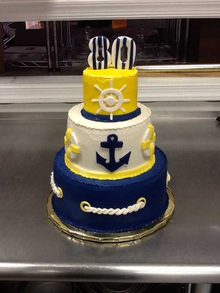 Astonishing Nautical Theme Tiered Birthday Cake With Images Nautical Funny Birthday Cards Online Inifodamsfinfo