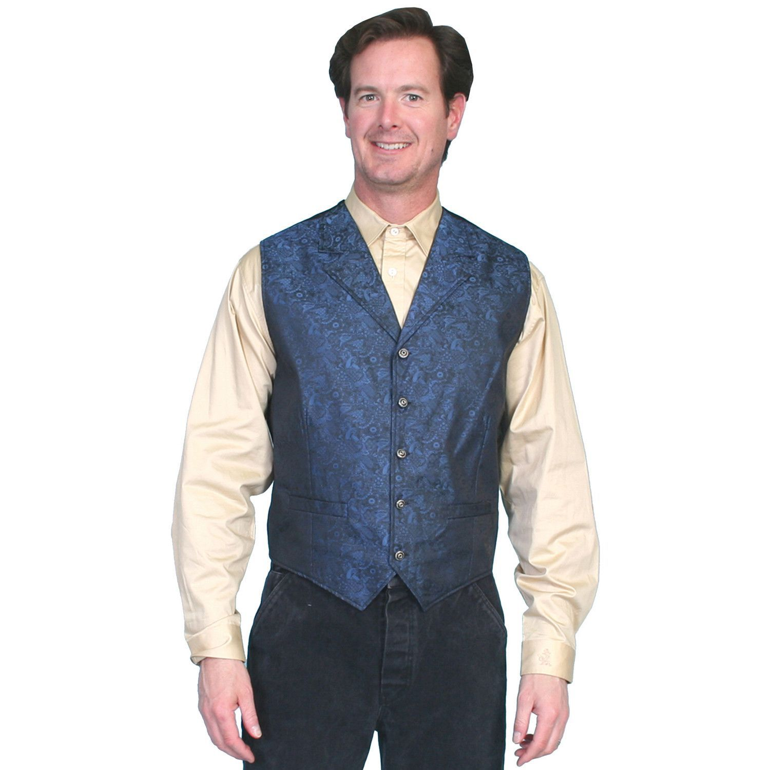 Scully Rangewear Mens Blue Polyester Paisley Big Old Time Vest ...