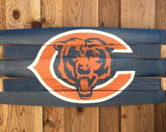 Chicago Bears Wall Art chicago bears - bears man cave sign - wine barrel art - bears wood