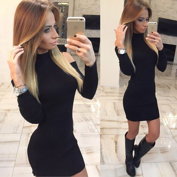 c260a2d295 High Neck Long Sleeve Stretchy Ribbed-Knit Bodycon Short Dress in ...