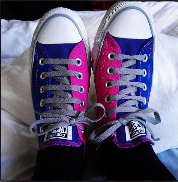 My new Bi Pride Converse :) The tongue is purple although you can't see it in this photo.
