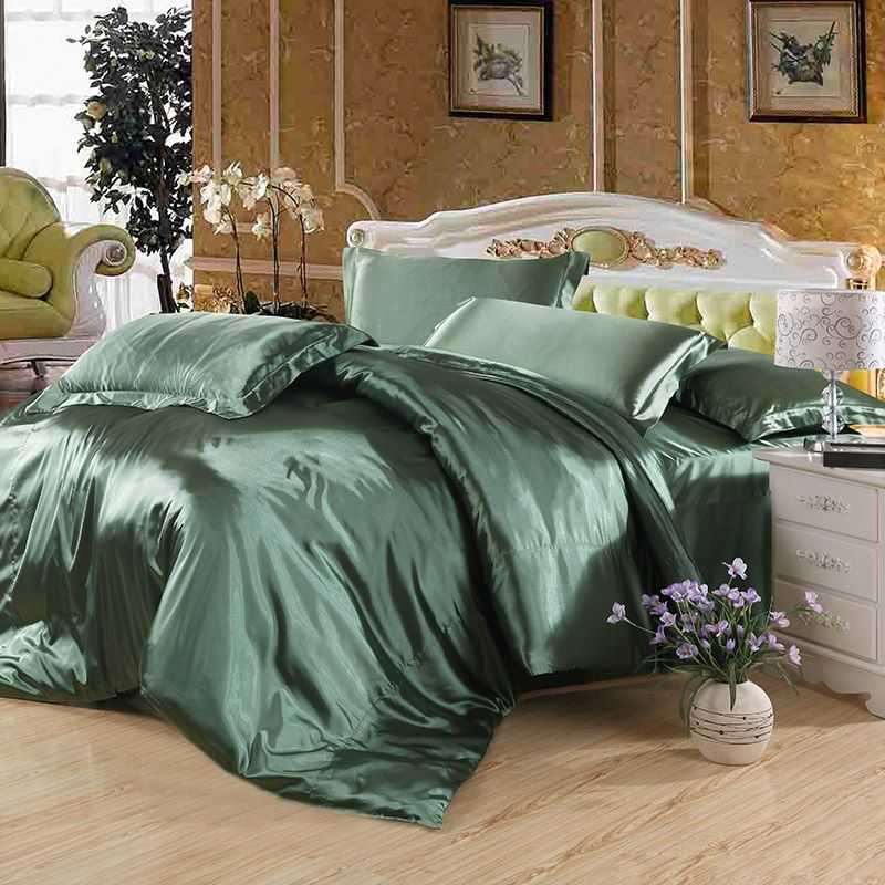 Pure Enjoyment Army Green Silk Bedding Silk Duvet Cover Set Green Bedding Light Green Bedding Silk Bedding