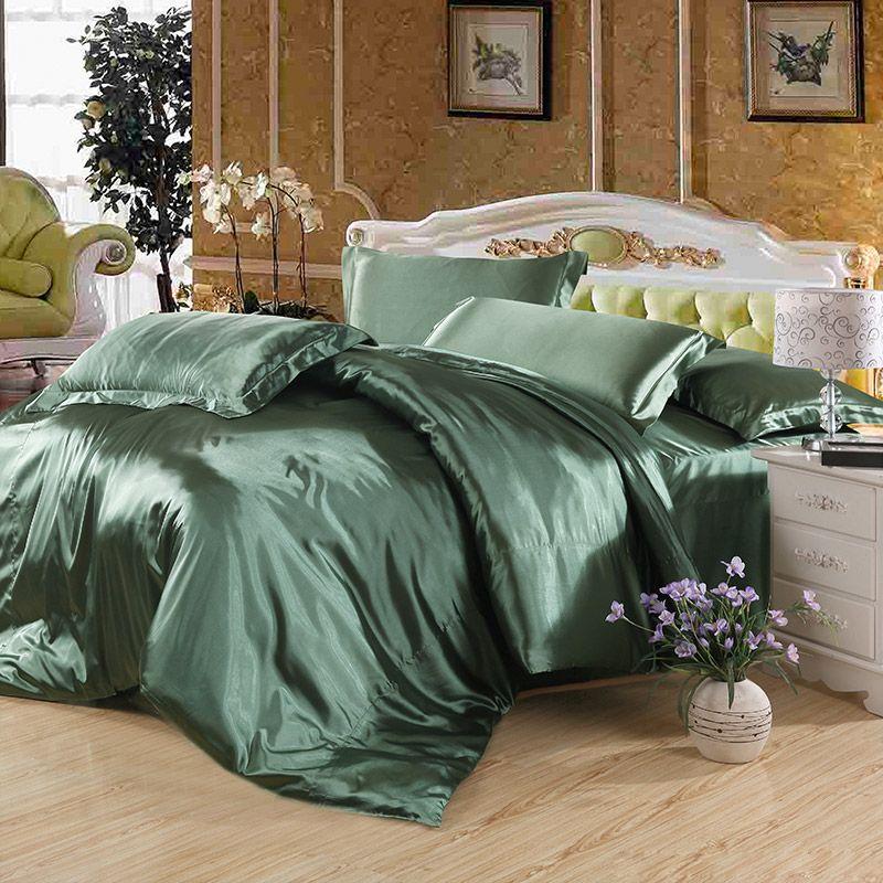 Pure Enjoyment Army Green Silk Bedding Silk Duvet Cover Set Green Bedding Silk Bedding Silk Duvet Cover