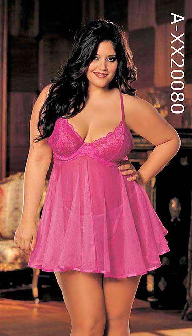 fbb7bc24290d0 Plus Size Sheer Babydoll XX20080, Black, Pink and White Plus Size Babydoll,  4X 5X 6X