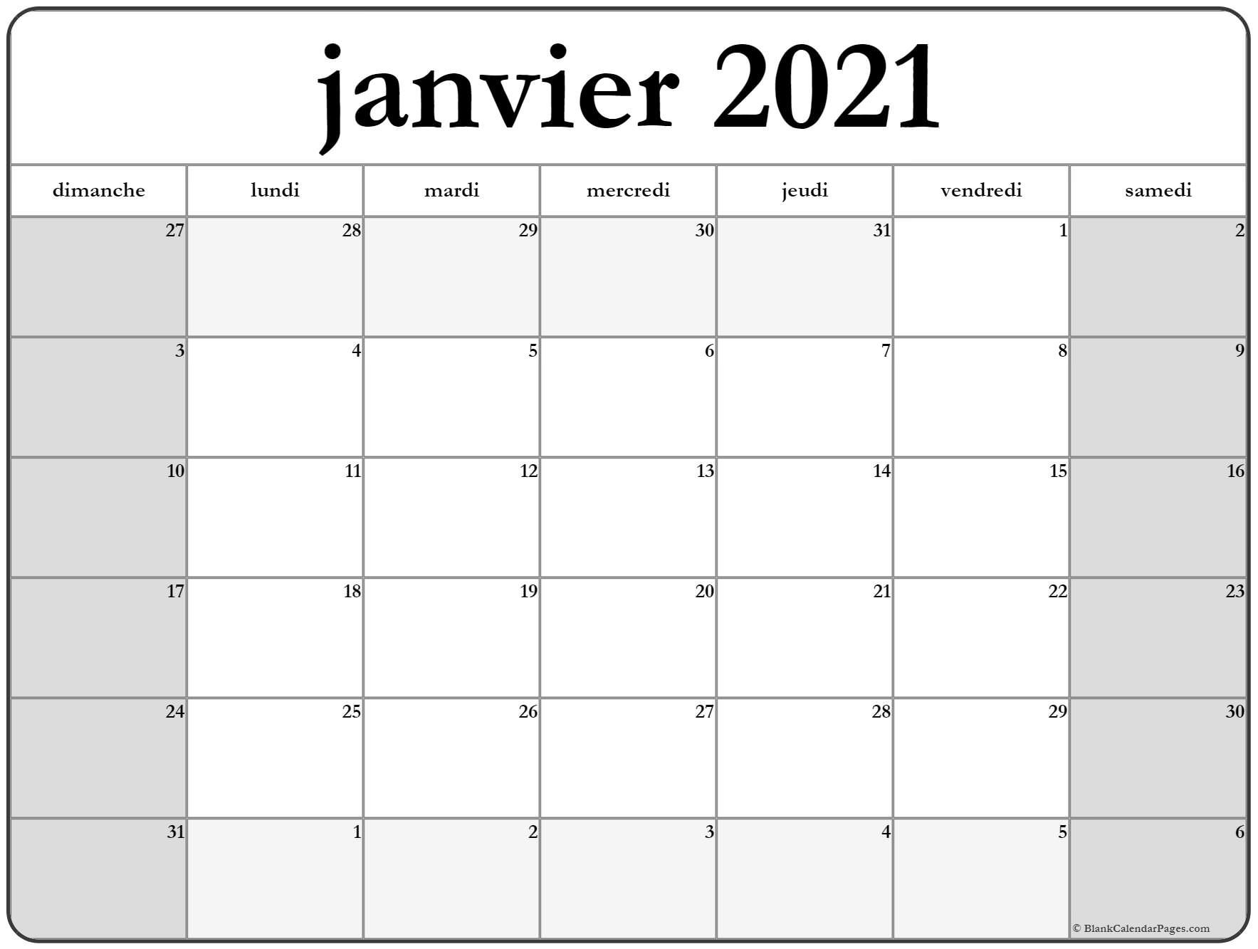 Calendrier Janvier 2021 A Imprimer in 2020 | Printable labels, How