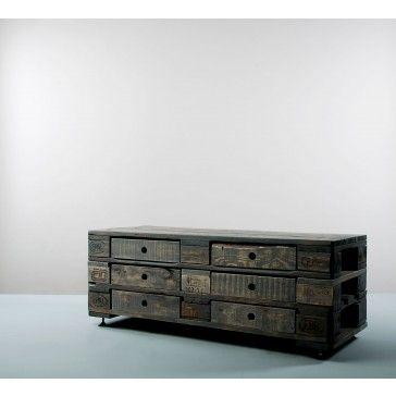 Kommode. Farbe Grau. Recycling möbel, Möbel aus paletten
