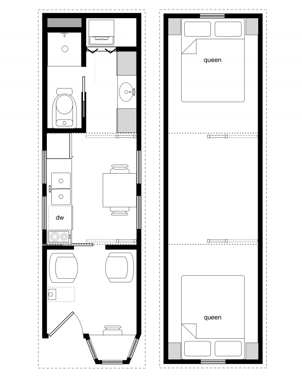 Sample Floor Plans For The 8×28 Coastal Cottage By Tiny House Design