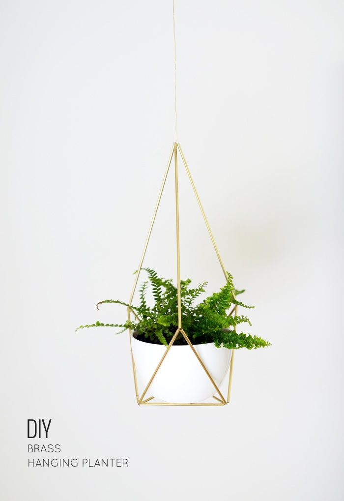 DIY Brass Himmeli Hanging Planter   17 Easy DIY Home Decor Craft Projects