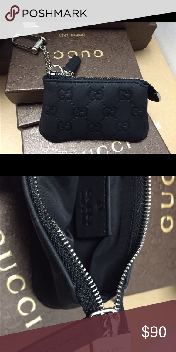 9a9675ede3c New Gucci Black Guccissima Coin Pouch Unisex new black Gucci Guccissima  coin pouch is unisex comes with box and tag Gucci Accessories Key   Card  Holders