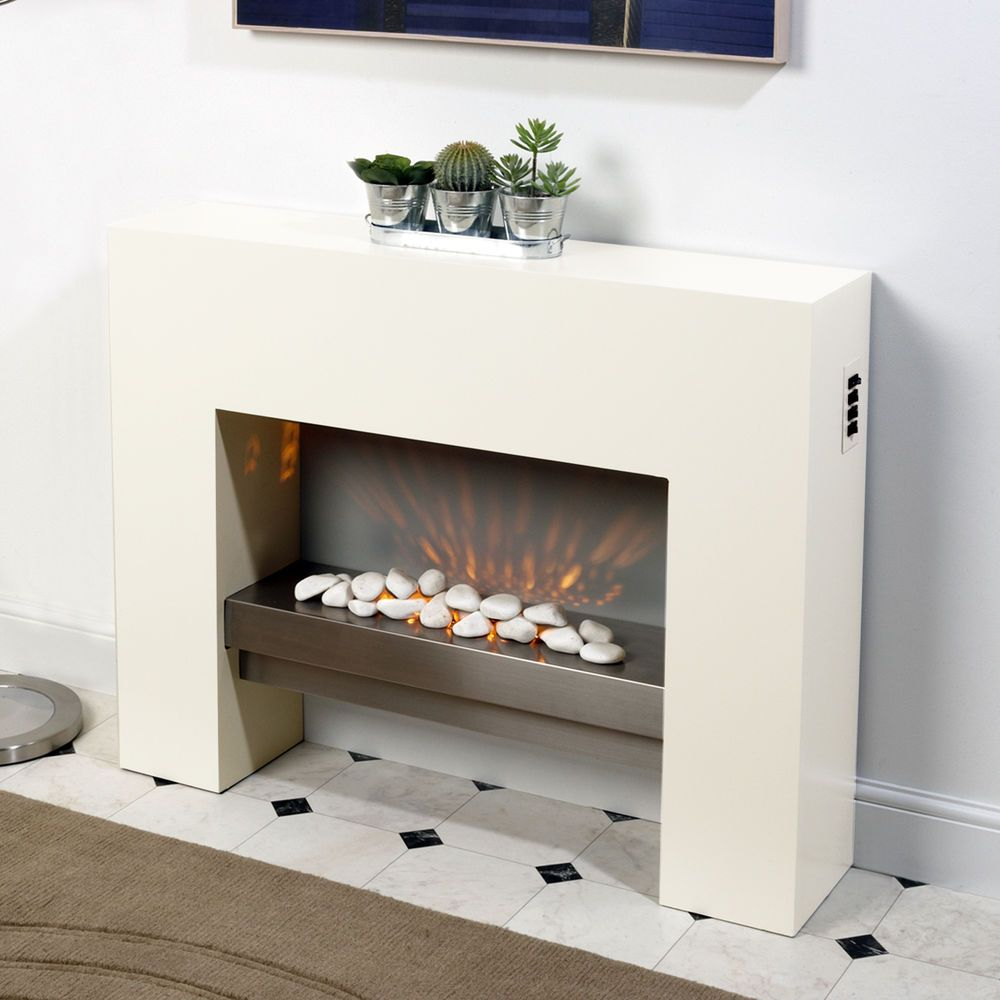White Free Standing Electric Fire Mdf Surround Fireplace Flicker Living Flame Free Standing Electric Fireplace White Electric Fireplace Fireplace Inserts