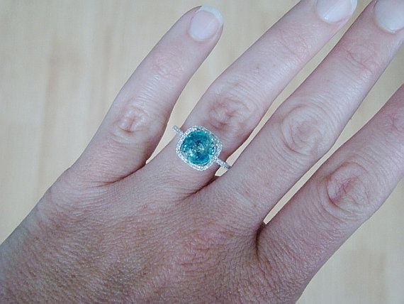 Large Halo Teal Zircon Diamond Ring Gemstone by PenelliBelle