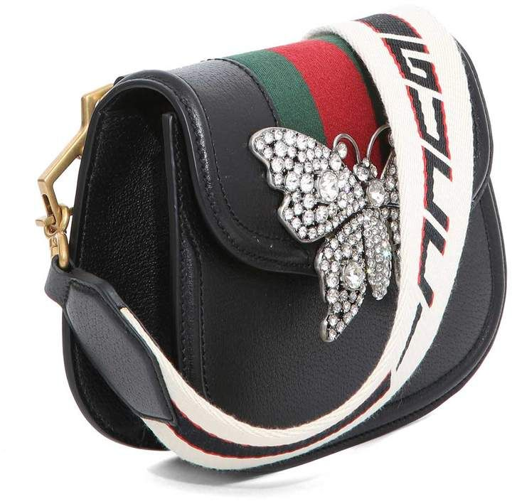 05f326c127c Gucci Black Leather Guccitotem Small Shoulder Bag With Web Ribbon ...