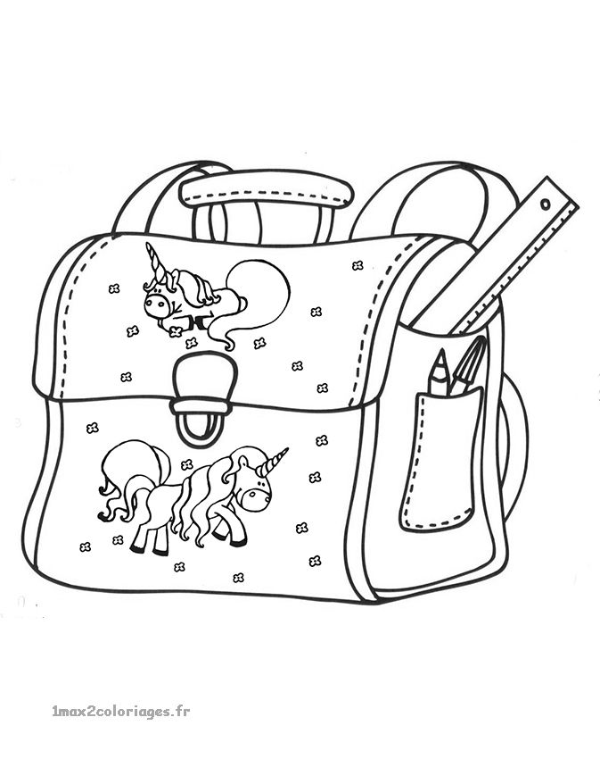 Cartable avec de jolis chevaux cartable coloring pages et color - Cartable dessin ...