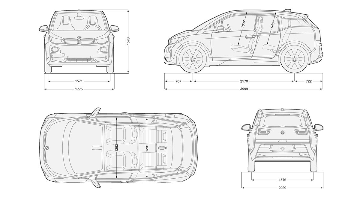 bmw i3 blueprint profil front top rear electro diesel With bmw i3 vehicle electrical system control units location