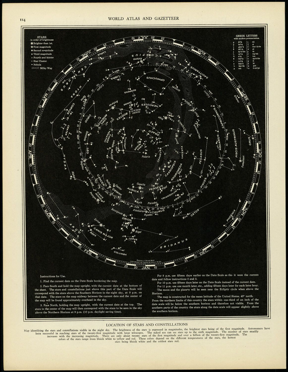 Vintage Constellation Map Star Chart  Maps
