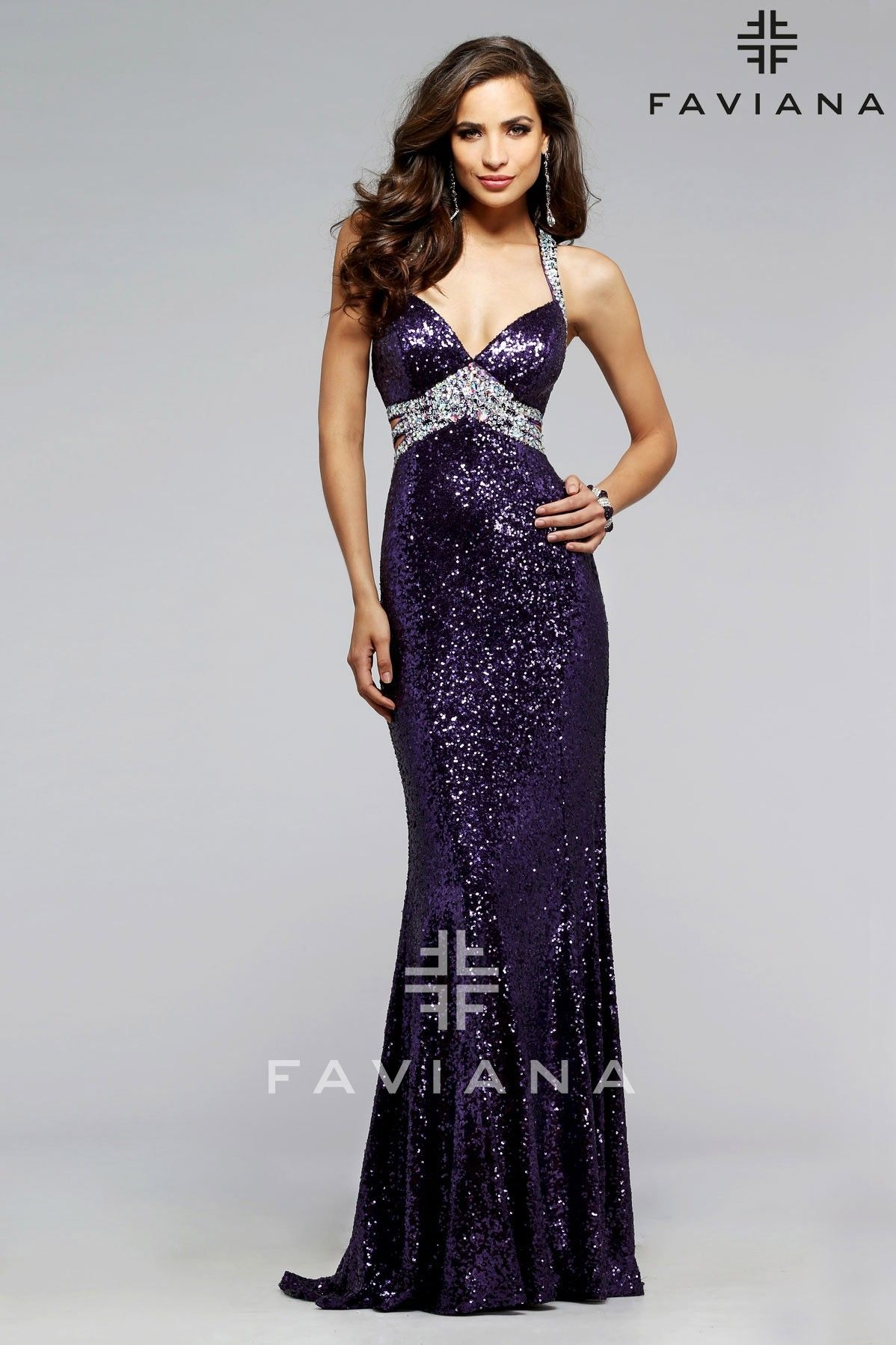 Sequined evening dress with silver center beading and side cutouts